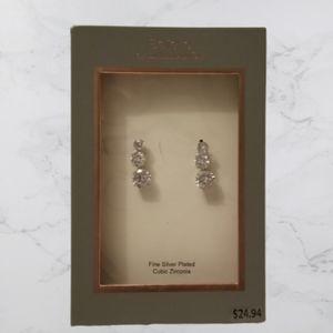 NWT Cubic Zirconia/silver plated pierced earrings